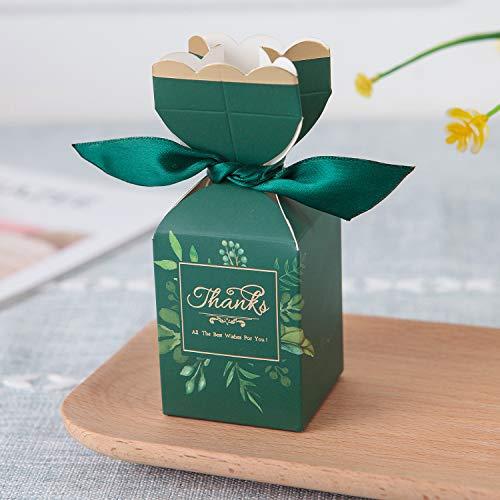 Zorpia 20 Stück DIY Hochzeit Gastgeschenke Süßigkeiten Boxen mit Band und Blume für Verlobung, Brautparty, Prinzessin Pink dunkelgrün