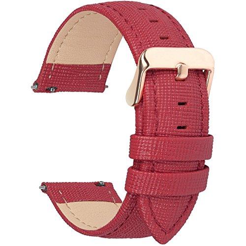 Fullmosa 14mm,16mm,18mm, 20mm, 22mm, 24mm Bracelet de Montre en Cuir véritable, Cross Montre Bracelet Homme/Femme à Dégagement Rapide,16mm Rouge