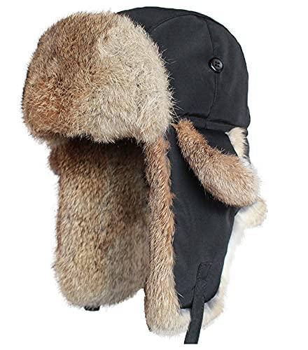 Invierno Imitacin Disfraz Aviador Trapper Trooper Pilot Cap Fleece Earflaps Bomber Caza Sombrero de Esqu, Negro, XL