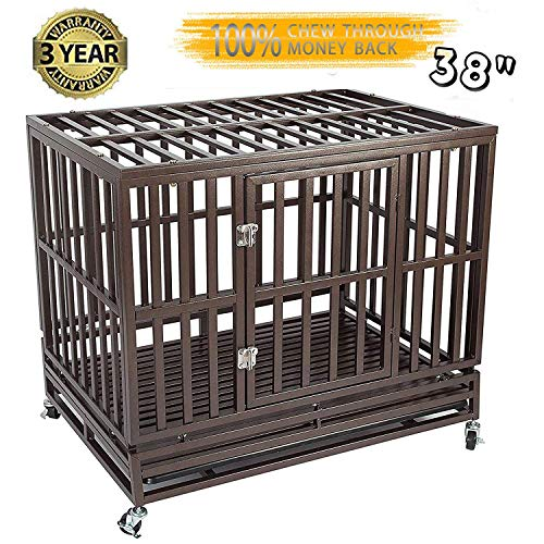 Gelinzon Heavy Duty Dog Cage Crate Strong Metal Kennel for Large...