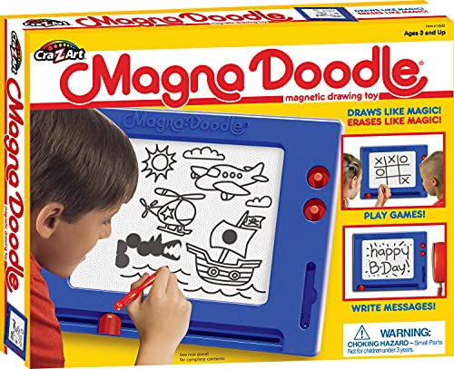 Cra-Z-Art Retro Magna Doodle Magnetic Drawing Board for kids 3 and up, Blue/White