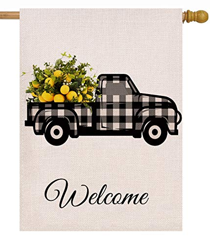 Dyrenson Summer Lemon Truck Welcome Garden Flag Farmhouse Double Sided, Buffalo Check Plaid Burlap House Yard Décor, Home Decorative Spring Small Seasonal Outdoor Flag 12 x 18