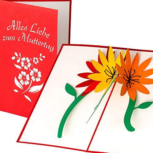 LuckeeCards® 3D Muttertagskarte - 3D Blumen Motiv - Alles Liebe zum Muttertag - elegante, handgefertigte Pop Up Karte - Für die beste Mama der Welt - Geschenk zum Muttertag