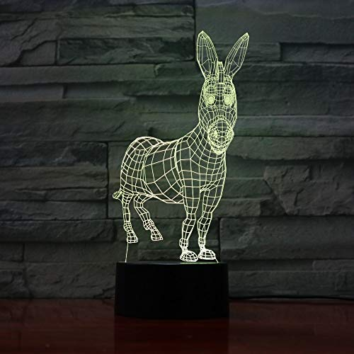WAGUZA Donkey 7 Colors Changing 3D Visual Animal Modelling Desk Lamp Led Atmosphere Home Decor Lighting Fixture Kids Touch Night Lights