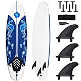 Giantex Surfboard, 6 Ft Stand Up Surfing Board w/ 3 Detachable Fins, Safety Leash, Non-Slip Lightweight Foam Surfboard for Kids, Teenager, Adults (White)