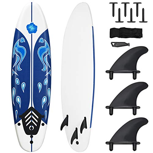 Giantex Surfboard, 6 Ft Stand Up Surfing Board w/ 3 Detachable Fins, Safety Leash, Non-Slip Lightweight Foam Surfboard for Kids, Teenager, Adults