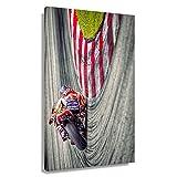 Motorrad-Rennen-Poster auf Leinwand, Kunstwerk, Gemälde,