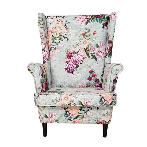 all4all Ohrensessel Armlehnesessel Kaminsessel Relaxsessel Skandinavisch Blumenmuster Rosen Blumen