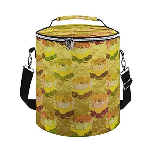 Bolsa de enfriamiento, diseño de hojas suculentas con aislamiento de lámina de oro amarillo verde, bolsa grande para actividades al aire libre, senderismo, camping, barco, playa, pesca