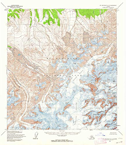 YellowMaps Mount McKinley A 3 AK topo map, 1:63360 Scale, 15 X 15 Minute, Historical, 1954, Updated 1964, 20.8 x 18 in - Paper (Best Places To Work Remotely In Minneapolis)