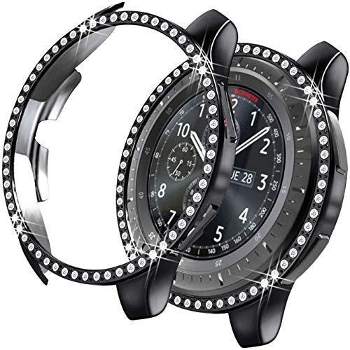 MroTech Cover Compatibile con Samsung Galaxy Watch 42mm Custodia Bling Case Protezione Diamante Strass Lucido Rugged Bumper PC Protector per Galaxy SM-R810 R815 42 mm Smartwatch,Nero