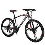 Eurobike 27.5 Inch Wheels Mountain Bike 21 Speed Bicycle Suspension Fork Daul Disc Brakes For adult (Red)