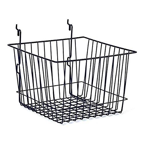KC Store Fixtures A03007 Basket Fits Slatwall, Grid, Pegboard, 12' W x 12' D x 8' H, Black (Pack of 6)