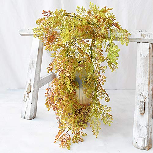 aolongwl Planta Artificial Helecho Artificial Planta Riqueza Hierba Colgante De Pared Ratán / 1pcs Ramo De Hojas