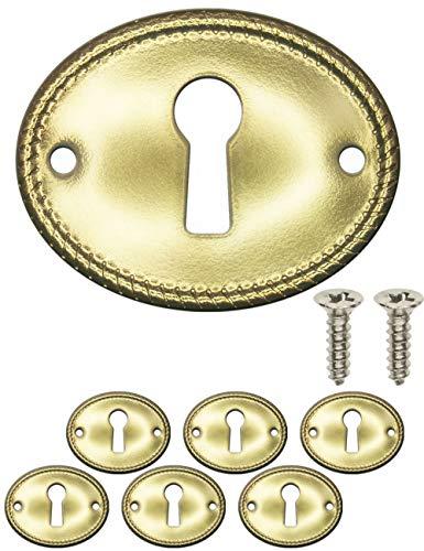 FUXXER® – 6 embellecedores para llaves antiguas, rosetas para cerraduras de latón, diseño vintage, juego de 6 unidades, incluye tornillos, 37 mm x 30 mm, latón, dorado