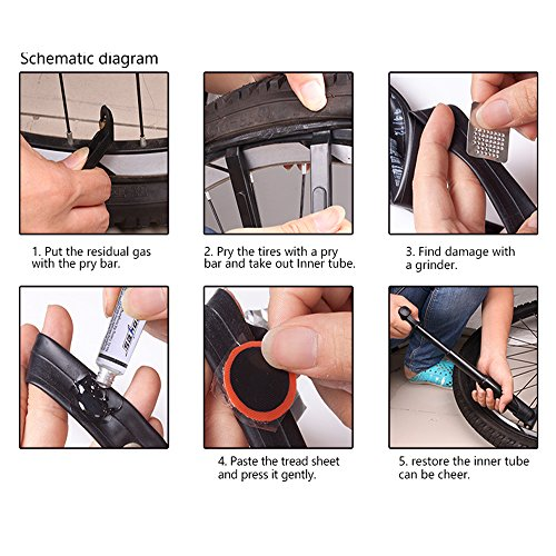 XPhonew Bike Tool Kit, Mountain Bicycle Repair Tool Set 7 in 1 Kits Bike Maintenance Fix Tools with Saddle Bag Mini Pump Tire Inflator Patch Crowbar Chain Splitter for Outdoor Camping Home Essential