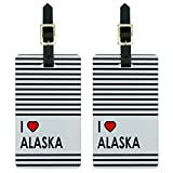 Graphics & More I Love Heart Alaska Luggage Tags Suitcase Carry-on Id, White