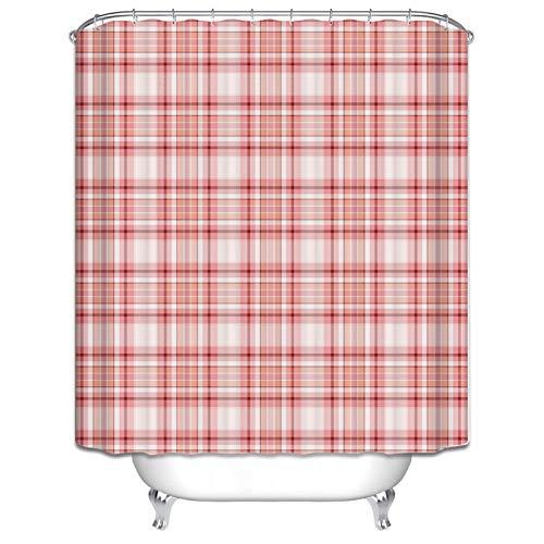 Bishilin Anti Schimmel Duschvorhang Waschbar Gitter Karo Bad Vorhang für Badezimmer Polyester-Stoff 180x200