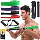 Portable Home Gym Resistance Bar with Bands, Exercise Stick Bar Kit for Chest Press Deadlift Squats...