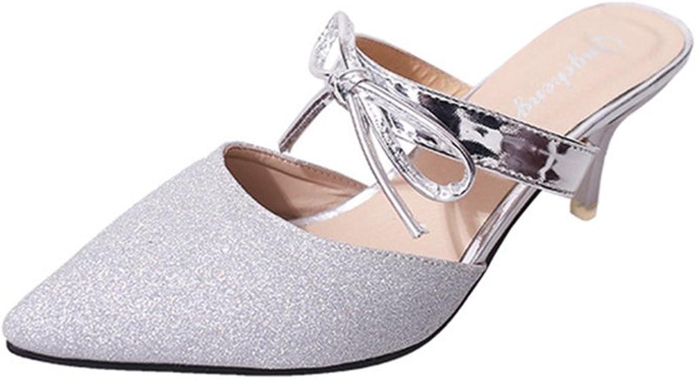 Women's Simple Pointed Toe Mid Kitten Heel Slide Sandals shoes