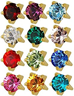 Studex 24K Plated Surgical Steel 3mm Regular Size Ear Piercing Earrings Studs in Prong Style Setting, 12 Pair Mixed Colors Yellow Metal