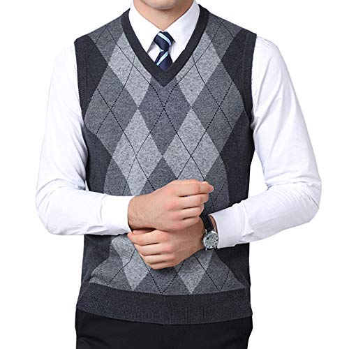 Flygo Mens Classic Argyle V-Neck Knitted Wool Sweater Vest (Large, Dark Grey)