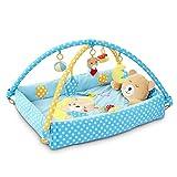 SONARIN Lindo Bear Alfombras de juego Gimnasio de Actividades Baby Play Mat & Activity Gym con juguetes para Actividades,almohada de oso, cama pequeña,Colorido e interactivo(Azul)