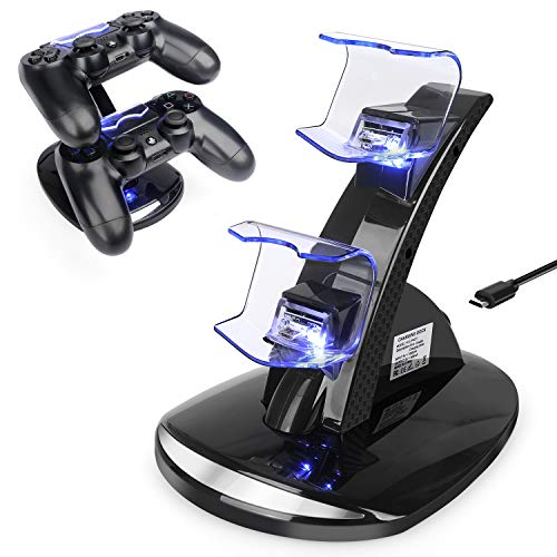 PS4 Controller Charger, PS4 Pro/Playstation 4 / PS4 / PS4 Slim Controller Charger Charging Docking Station Stand.Dual USB Fast Charging Station & LED Indicator for Sony PS4 Controller-Black