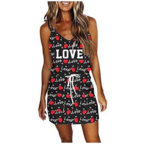 URIBAKY - Vestido bohemio para mujer, diseño bohemio, cuello redondo, vestido de playa, vestido de sol, tamaño pequeño, informal, vestido de noche, estilo retro, vestido de cóctel rojo A M