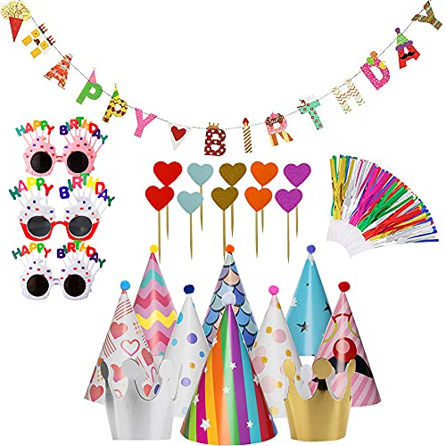 30 Pcs Birthday Decorations Sets Including Happy Birthday Banner Party Hats Glasses and Other Party Supplies Decor