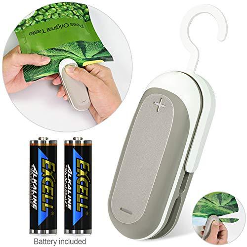 longzon Folienschweißgerät, Mini Bag Sealer, 2 in 1 Tüten Schneiden und Verschließen, Mini Folienschweißgerät Handlicher Tüten Verschweißer, Batteriebetrieben (Enthalten)