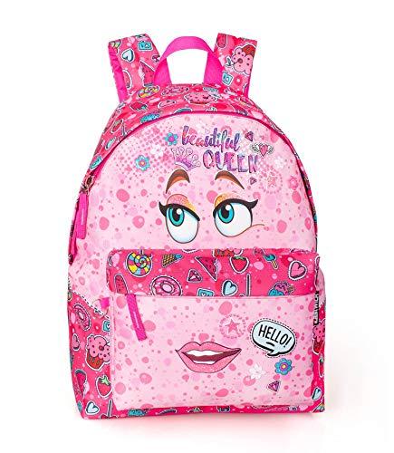 Eastwick Zaino Scuola elementare Americano per Bambina Stampa Face Rosa 2 Zip