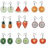 EXCEART 9 Pares de Pendientes de Frutas Colgantes Pendientes de Frutas Lindos Pendientes de Gota de Sandía de Fresa Pendientes de Acrílico de Frutas Realistas para Mujeres Niñas