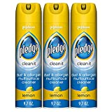 Pledge Dust & Allergen -Surface Cleaner Spray, Works on Leather, Granite, Wood, and Stainless Steel, Multi, Lemon, 9.7 Ounce (Pack of 3), 29.1 Ounce