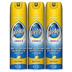 Image of Pledge Dust & Allergen Multisurface Cleaner, Lemon, 9.7 oz, 3 ct: Bestviewsreviews