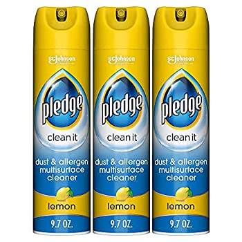 Pledge Dust & Allergen -Surface Cleaner Spray Works on Leather Granite Wood and Stainless Steel Multi Lemon 9.7 Ounce  Pack of 3  29.1 Ounce