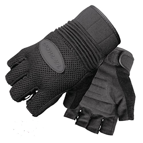 Olympia Sports Men's Air Force Fingerless Gel Gloves (Black, Large)