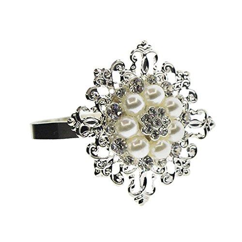 12x Beige Perle Serviettenring Serviettenhalter Hochzeitsdeko