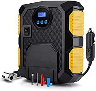 Robustrion Digital Tyre Inflator Pump - 12V DC Portable Tyre Inflators for Car Bikes Motorcyle and Bicycle - Yellow
