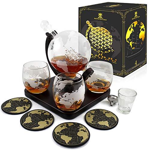 Krown Kitchen - Juego de decantador en forma de globo para regalo. Incluye base de madera, 4 vasos, 4 posavasos, vaso para trago corto y embudo. Este juego de...