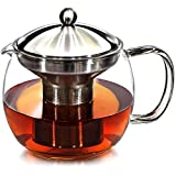 Teapot with Infuser for Loose Tea - 40oz, 3-4 Cup Tea Infuser, Clear Glass Tea Kettle Pot with...