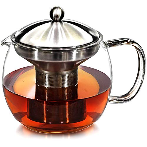 Teapot Kettle with Warmer  Tea Pot and Tea Infuser Set  Glass Tea Maker Infusers Holds 34 Cups Loose Leaf Iced Blooming or Flowering Tea Filter Teapots Kettles Tea Strainer Steeper Tea Pots
