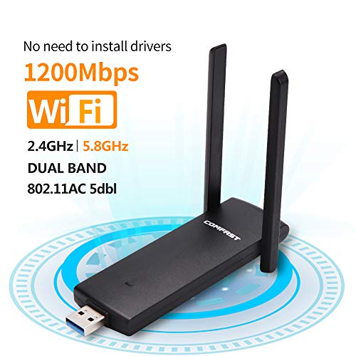 Wifi Dongle-USB Wireless adapter 1200Mbps (Plug and play, no need to install drivers),USB Wifi Adapter for PC/Desktop/Laptop/Tablet with 2.4G/5G 5dBi Dual Antenna, Support Windows 10/8 .1/7/XP (1200M)