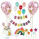 Gxhong Happy Birthday Cake Topper Set Cupcake Topper Set Tortendeko Geburtstag Cake Toppers Einschließlich Regenbogen Konfetti Ballons Stern-Plugin Banner für Kinder Geburtstage Jubiläen Partys 20PCS