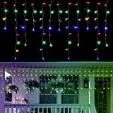 WATERGLIDE 360 LED Christmas Icicle Lights Outdoor Dripping Icicle String Light, 29.5ft 8 Modes Curtain Fairy Lights with 60 Drops, Indoor Xmas Holiday Wedding Party Decorations, Multicolor