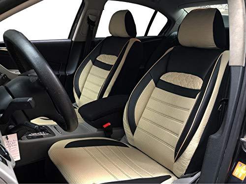 Sitzbezüge K-Maniac für Mercedes E-Klasse Kombi S124 | Universal schwarz-beige | Autositzbezüge Set Vordersitze | Autozubehör Innenraum | V2513129 | Kfz Tuning | Sitzbezug | Sitzschoner