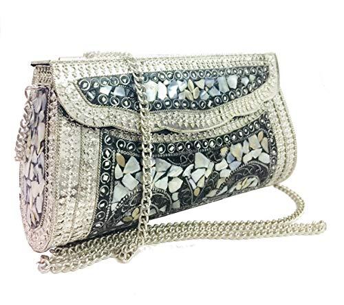 Gauri Bolso de piedra de nácar de concha de plata de las mujeres embrague étnico bolso de mosaico antiguo indio bolso de metal bolso de fiesta embrague