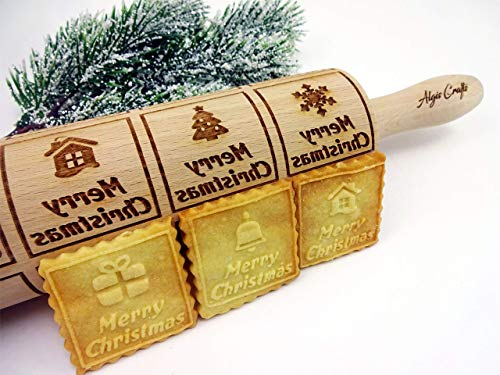CHRISTMAS WINDOWS ROLLING PIN EMBOSSING PIN with MERRY CHRISTMAS for GINGERBREAD COOKIES