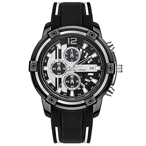 WNGJ Reloj de Cuarzo de Deportes de Moda, Reloj de Calendario a Prueba de Agua Reloj Multifuncional para Hombres, Relojes Luminosos Deportivos multifuncionales, Reloj de Black