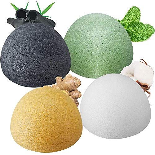 4pcs Esponja Konjac Facial,MZSM Konjac Esponge Set para Limpieza y Exfoliación Profunda de Poros, 100% Naturales Carbón de Bambú/Té Verde/Esponja Blanca, Esponjas Faciales para Todo Tipo de Piel